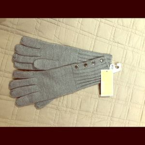 Michael Kors Grey Silver Button Up Gloves